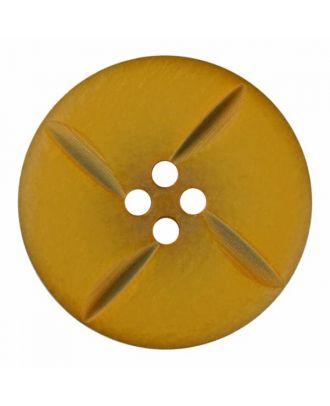 runder Knopf Polyester mit vier Kerben und vier  Löchern - Größe: 28mm - Farbe: gelb - Art.Nr. 385824