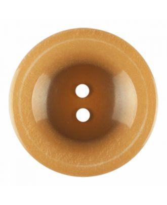 Polyesterknopf rund in glänzender Optik und 2 Löchern - Größe: 28mm - Farbe: braun - Art.-Nr.: 386825