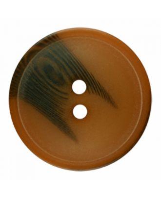 Polyesterknopf rund in matter Optik mit Struktur und 2 Löchern - Größe: 30mm - Farbe: braun - Art.-Nr.: 386813