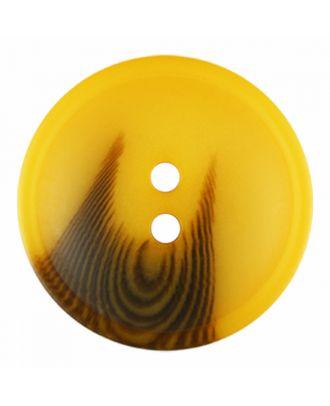 Polyesterknopf rund in matter Optik mit Struktur und 2 Löchern - Größe: 30mm - Farbe: gelb - Art.-Nr.: 386823