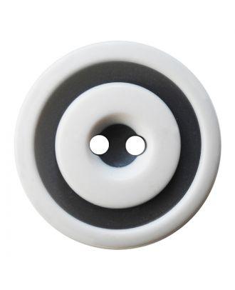 Polyesterknopf rund in zweifarbiger, matter Optik mit 2 Löchern - Größe:  30mm - Farbe: weiß - ArtNr.: 380419