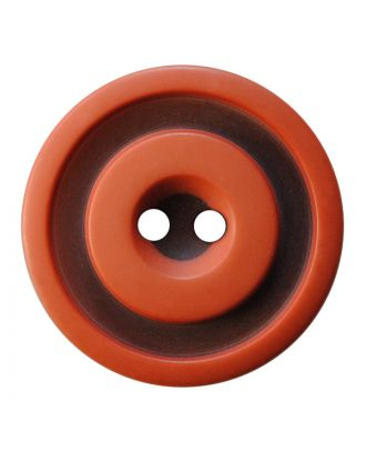 Polyesterknopf rund in zweifarbiger, matter Optik mit 2 Löchern - Größe:  20mm - Farbe: terrakotta - ArtNr.: 337801