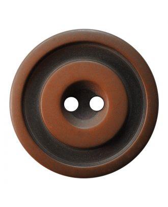 Polyesterknopf rund in zweifarbiger, matter Optik mit 2 Löchern - Größe:  30mm - Farbe: braun - ArtNr.: 387826