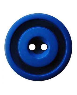 Polyesterknopf rund in zweifarbiger, matter Optik mit 2 Löchern - Größe:  30mm - Farbe: blau - ArtNr.: 387828