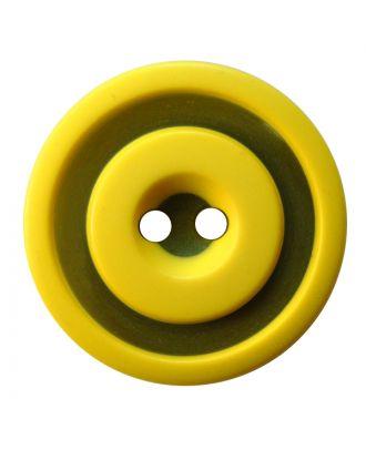 Polyesterknopf rund in zweifarbiger, matter Optik mit 2 Löchern - Größe:  30mm - Farbe: gelb - ArtNr.: 387835