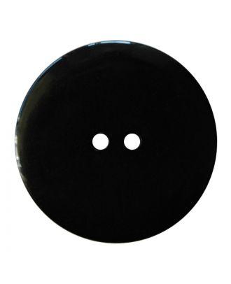 Polyesterknopf rund in glänzender Optik mit feiner Struktur und 2 Löchern - Größe:  28mm - Farbe: schwarz - ArtNr.: 380422