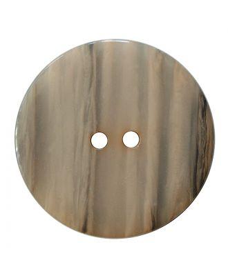 Polyesterknopf rund in glänzender Optik mit feiner Struktur und 2 Löchern - Größe:  18mm - Farbe: beige - ArtNr.: 317824