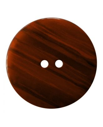Polyesterknopf rund in glänzender Optik mit feiner Struktur und 2 Löchern - Größe:  18mm - Farbe: braun - ArtNr.: 317826