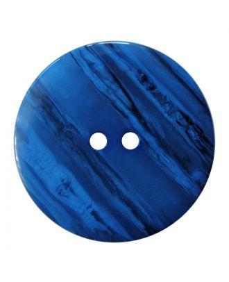 Polyesterknopf rund in glänzender Optik mit feiner Struktur und 2 Löchern - Größe:  28mm - Farbe: blau - ArtNr.: 387839