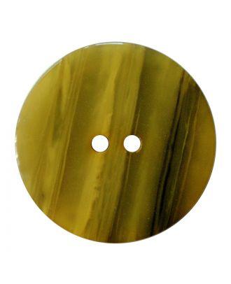 Polyesterknopf rund in glänzender Optik mit feiner Struktur und 2 Löchern - Größe:  28mm - Farbe: senfgrün - ArtNr.: 387844