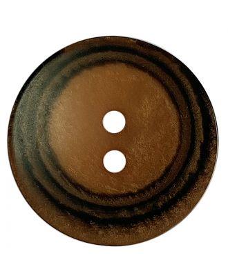 Polyesterknopf rund in matter Optik mit Struktur und 2 Löchern - Größe:  28mm - Farbe: braun - ArtNr.: 388802