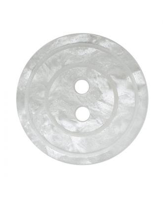 Polyesterknopf rund in glänzender Optik mit Perlmutteffekt und 2 Löchern - Größe:  18mm - Farbe: weiß - ArtNr.: 311123