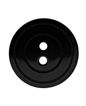 Polyesterknopf rund in glänzender Optik mit Perlmutteffekt und 2 Löchern - Größe:  18mm - Farbe: schwarz - ArtNr.: 311124