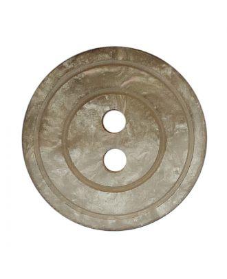 Polyesterknopf rund in glänzender Optik mit Perlmutteffekt und 2 Löchern - Größe:  18mm - Farbe: beige - ArtNr.: 318840
