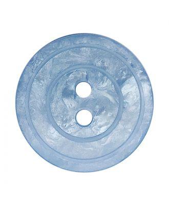 Polyesterknopf rund in glänzender Optik mit Perlmutteffekt und 2 Löchern - Größe:  18mm - Farbe: hellblau - ArtNr.: 318841