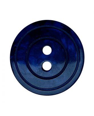 Polyesterknopf rund in glänzender Optik mit Perlmutteffekt und 2 Löchern - Größe:  20mm - Farbe: dunkelblau - ArtNr.: 338802