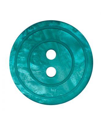 Polyesterknopf rund in glänzender Optik mit Perlmutteffekt und 2 Löchern - Größe:  18mm - Farbe: grün - ArtNr.: 318844