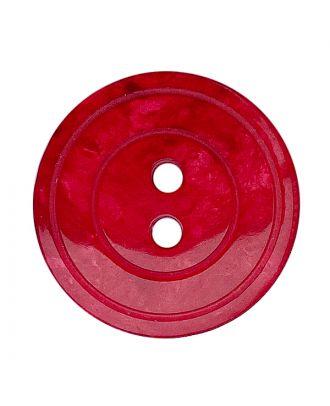 Polyesterknopf rund in glänzender Optik mit Perlmutteffekt und 2 Löchern - Größe:  18mm - Farbe: rot - ArtNr.: 318847