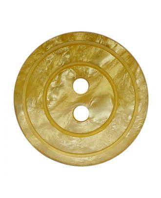 Polyesterknopf rund in glänzender Optik mit Perlmutteffekt und 2 Löchern - Größe:  15mm - Farbe: gelb - ArtNr.: 288808