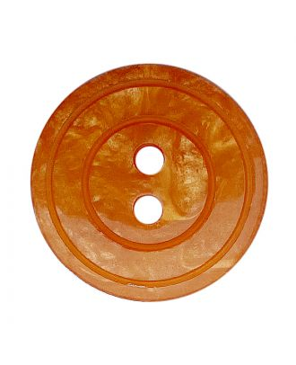Polyesterknopf rund in glänzender Optik mit Perlmutteffekt und 2 Löchern - Größe:  20mm - Farbe: orange - ArtNr.: 338809