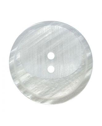 Polyesterknopf rund mit 2 Löchern - Größe:  28mm - Farbe: weiß - ArtNr.: 380427