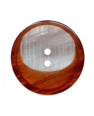 Polyesterknopf rund mit 2 Löchern - Größe:  28mm - Farbe: braun - ArtNr.: 382018