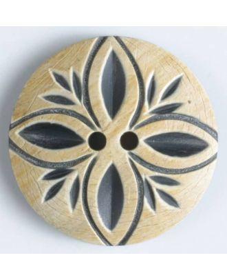 "Echter Hornknopf ""Blütenblatt"", 2-loch - Größe: 31mm - Farbe: beige - Art.Nr. 510024"