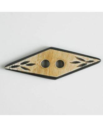 """Echter Hornknopf """"Rautenform mit blätterförmigen Ausfräsungen"""", 2-loch - Größe: 59mm - Farbe: beige - Art.Nr. 480031"""