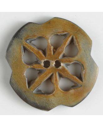 """Echter Hornknopf """"Edelweiß"""", 2-loch - Größe: 26mm - Farbe: beige - Art.Nr. 470048"""