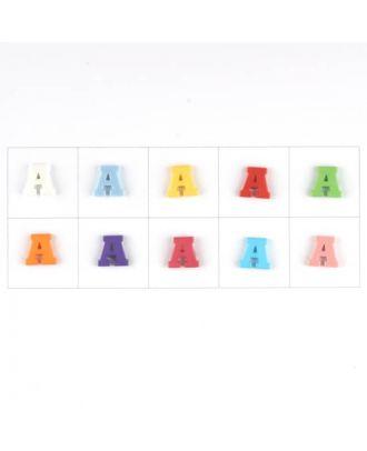 Buchstabe  A , 10 Farben gemischt, pro Farbe 3 Stück - Größe: 11mm - Farbe: Mischung: rot,pink,orange,lila,blau,gelb,grün,weiß, hellblau,rosa - Art.-Nr.: 181333