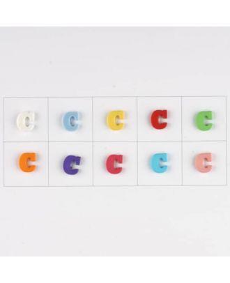 Buchstabe  C, 10 Farben gemischt, pro Farbe 3 Stück - Größe: 11mm - Farbe: Mischung: rot,pink,orange,lila,blau,gelb,grün,weiß, hellblau,rosa - Art.-Nr.: 181335
