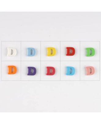 Buchstabe  D , 10 Farben gemischt, pro Farbe 3 Stück - Größe: 11mm - Farbe: Mischung: rot,pink,orange,lila,blau,gelb,grün,weiß, hellblau,rosa - Art.-Nr.: 181336
