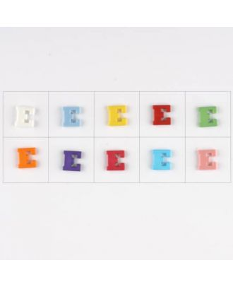 Buchstabe  E , 10 Farben gemischt, pro Farbe 3 Stück - Größe: 11mm - Farbe: Mischung: rot,pink,orange,lila,blau,gelb,grün,weiß, hellblau,rosa - Art.-Nr.: 181337