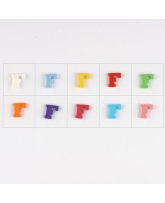 Buchstabe  F , 10 Farben gemischt, pro Farbe 3 Stück - Größe: 11mm - Farbe: Mischung: rot,pink,orange,lila,blau,gelb,grün,weiß, hellblau,rosa - Art.-Nr.: 181338