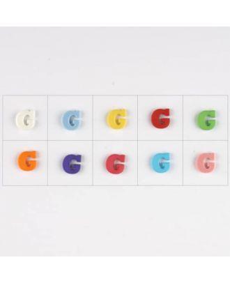 Buchstabe  G , 10 Farben gemischt, pro Farbe 3 Stück - Größe: 11mm - Farbe: Mischung: rot,pink,orange,lila,blau,gelb,grün,weiß, hellblau,rosa - Art.-Nr.: 181339