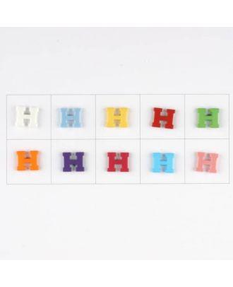 Buchstabe  H , 10 Farben gemischt, pro Farbe 3 Stück - Größe: 11mm - Farbe: Mischung: rot,pink,orange,lila,blau,gelb,grün,weiß, hellblau,rosa - Art.-Nr.: 181340
