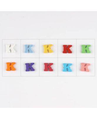 Buchstabe  K , 10 Farben gemischt, pro Farbe 3 Stück - Größe: 11mm - Farbe: Mischung: rot,pink,orange,lila,blau,gelb,grün,weiß, hellblau,rosa - Art.-Nr.: 181343