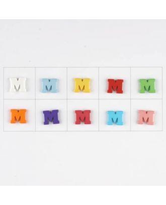 Buchstabe  M , 10 Farben gemischt, pro Farbe 3 Stück - Größe: 11mm - Farbe: Mischung: rot,pink,orange,lila,blau,gelb,grün,weiß, hellblau,rosa - Art.-Nr.: 181345
