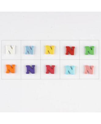 Buchstabe  N , 10 Farben gemischt, pro Farbe 3 Stück - Größe: 11mm - Farbe: Mischung: rot,pink,orange,lila,blau,gelb,grün,weiß, hellblau,rosa - Art.-Nr.: 181346