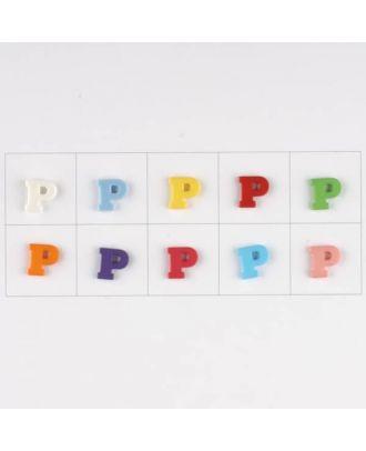 Buchstabe  P , 10 Farben gemischt, pro Farbe 3 Stück - Größe: 11mm - Farbe: Mischung: rot,pink,orange,lila,blau,gelb,grün,weiß, hellblau,rosa - Art.-Nr.: 181348