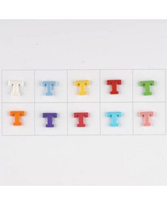Buchstabe  T , 10 Farben gemischt, pro Farbe 3 Stück - Größe: 11mm - Farbe: Mischung: rot,pink,orange,lila,blau,gelb,grün,weiß, hellblau,rosa - Art.-Nr.: 181352