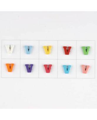 Buchstabe  V , 10 Farben gemischt, pro Farbe 3 Stück - Größe: 11mm - Farbe: Mischung: rot,pink,orange,lila,blau,gelb,grün,weiß, hellblau,rosa - Art.-Nr.: 181354