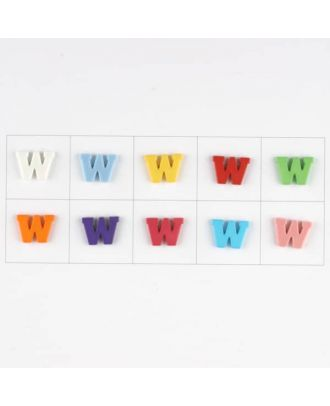 Buchstabe  W , 10 Farben gemischt, pro Farbe 3 Stück - Größe: 11mm - Farbe: Mischung: rot,pink,orange,lila,blau,gelb,grün,weiß, hellblau,rosa - Art.-Nr.: 181355