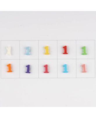 Zahl  1 , 10 Farben gemischt, pro Farbe 3 Stück - Größe: 11mm - Farbe: Mischung: rot,pink,orange,lila,blau,gelb,grün,weiß, hellblau,rosa - Art.-Nr.: 181360