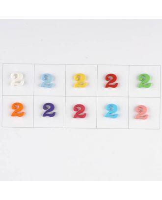Zahl  2 , 10 Farben gemischt, pro Farbe 3 Stück - Größe: 11mm - Farbe: Mischung: rot,pink,orange,lila,blau,gelb,grün,weiß, hellblau,rosa - Art.-Nr.: 181361