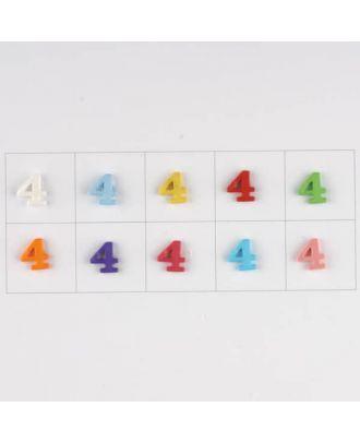 Zahl  4 , 10 Farben gemischt, pro Farbe 3 Stück - Größe: 11mm - Farbe: Mischung: rot,pink,orange,lila,blau,gelb,grün,weiß, hellblau,rosa - Art.-Nr.: 181363