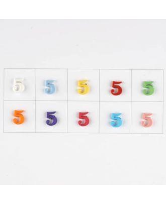 Zahl  5 , 10 Farben gemischt, pro Farbe 3 Stück - Größe: 11mm - Farbe: Mischung: rot,pink,orange,lila,blau,gelb,grün,weiß, hellblau,rosa - Art.-Nr.: 181364