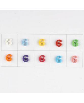 Zahl  6, 10 Farben gemischt, pro Farbe 3 Stück - Größe: 11mm - Farbe: Mischung: rot,pink,orange,lila,blau,gelb,grün,weiß, hellblau,rosa - Art.-Nr.: 181365