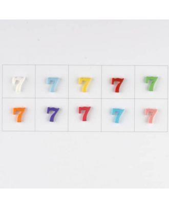 Zahl  7 , 10 Farben gemischt, pro Farbe 3 Stück - Größe: 11mm - Farbe: Mischung: rot,pink,orange,lila,blau,gelb,grün,weiß, hellblau,rosa - Art.-Nr.: 181366
