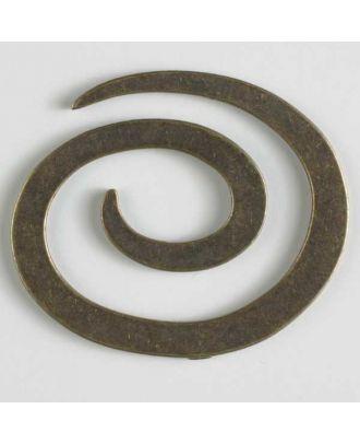 Vollmetall-Spiralverschluss zum Eindrehen, schlangenförmig - Größe: 50mm - Farbe: altmessing - Art.Nr. 480907